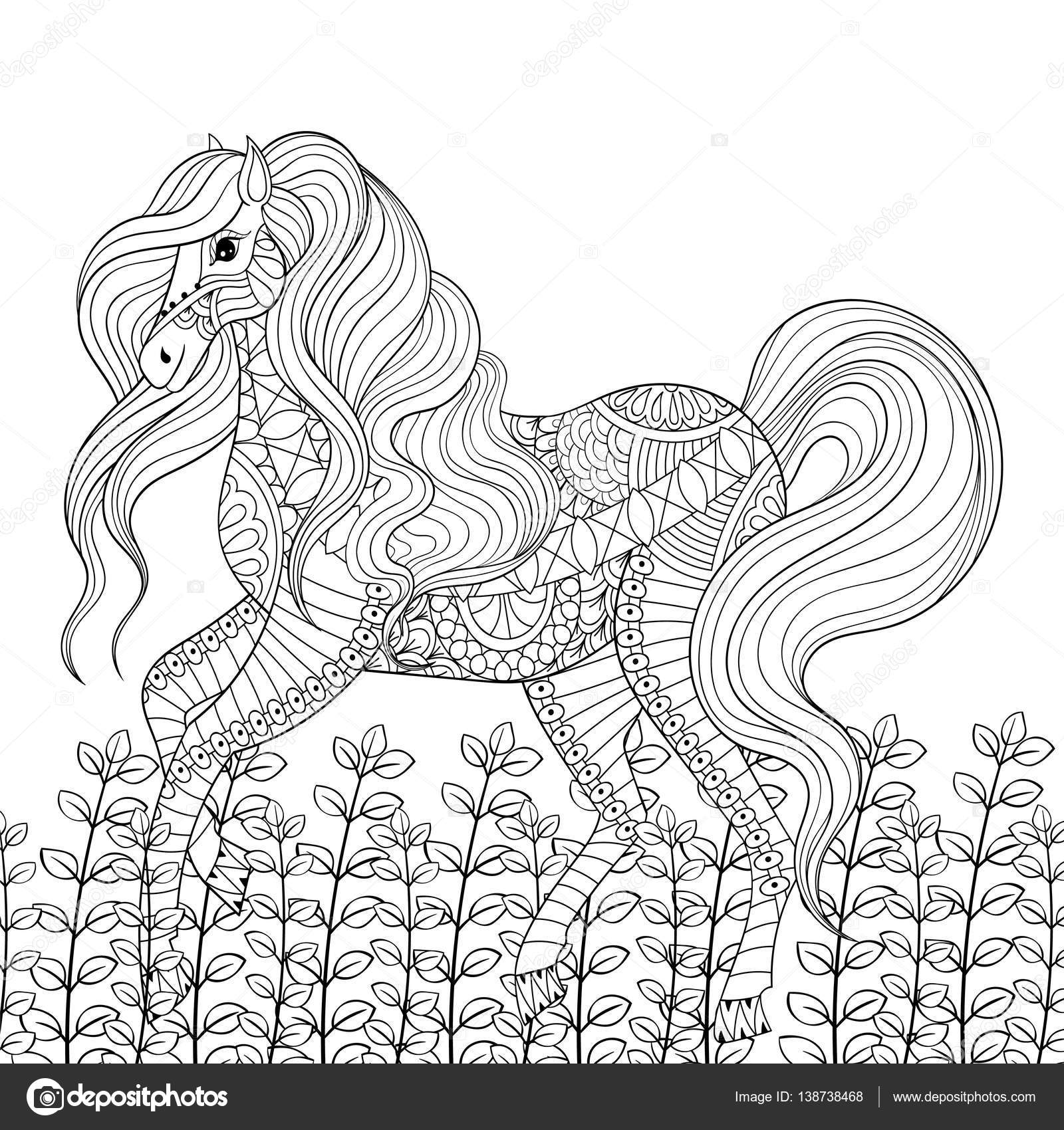 Adulte Anti Stress Coloriage De Cheval De Course Dessinés à La Main