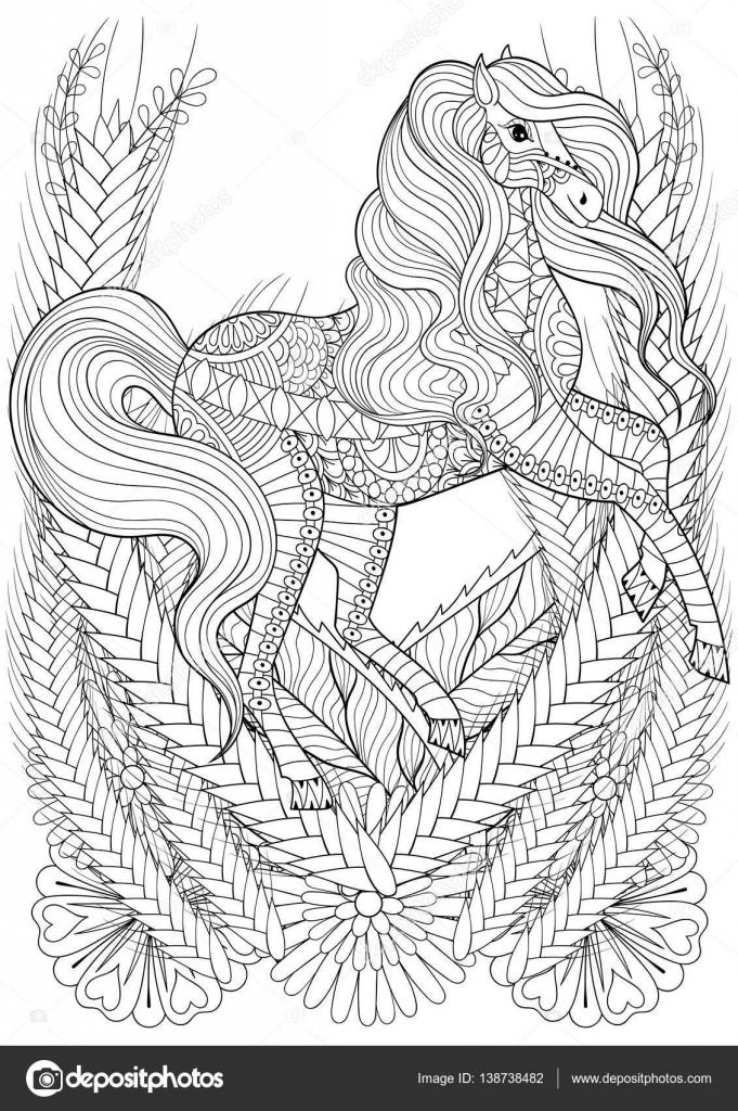 Carreras de caballo en adultos anti estrés página para colorear de ...