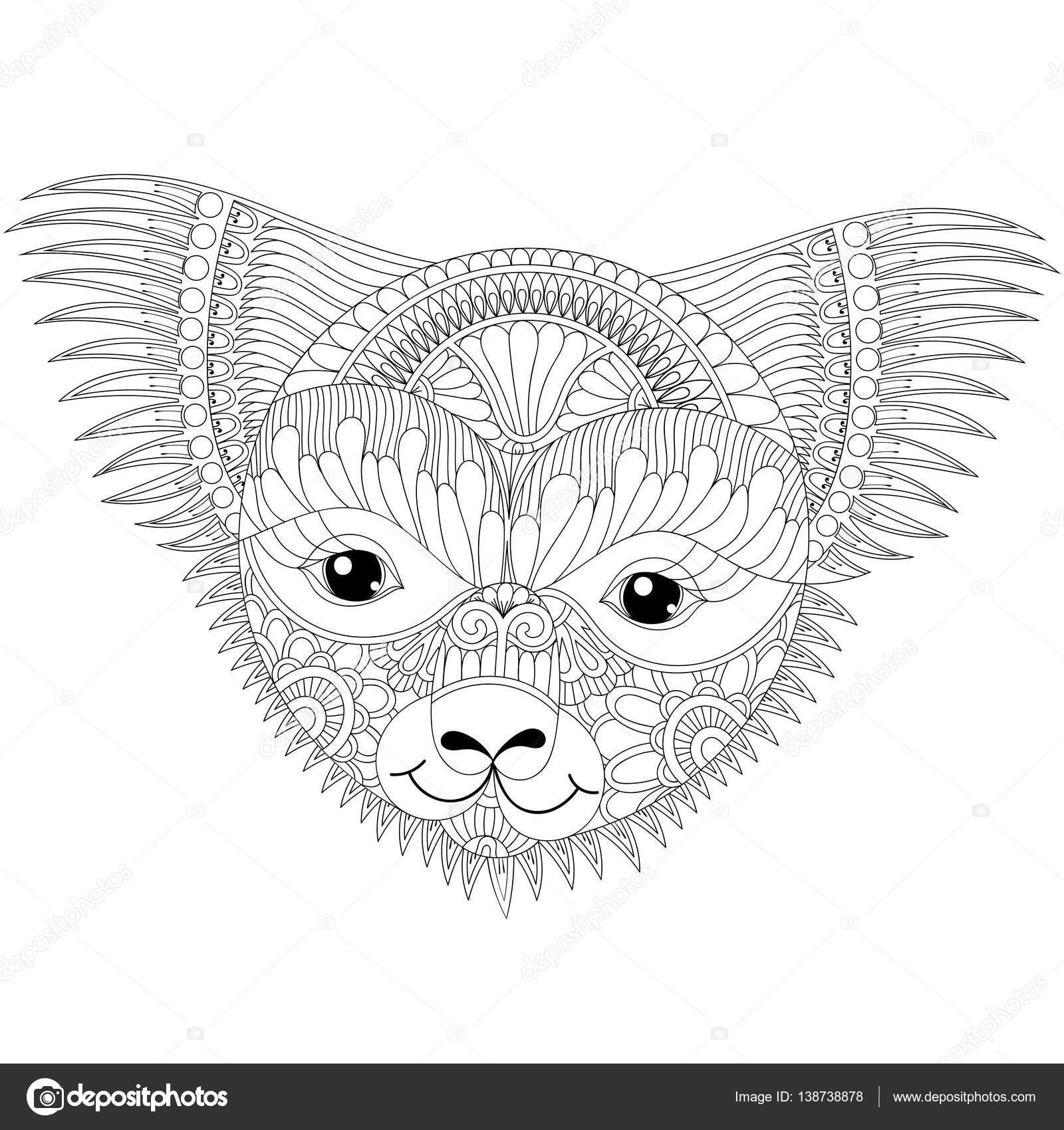 Coloriage Anti Stress Visage.Vector Zentangle Heureux Koala Sympathique Visage Pour