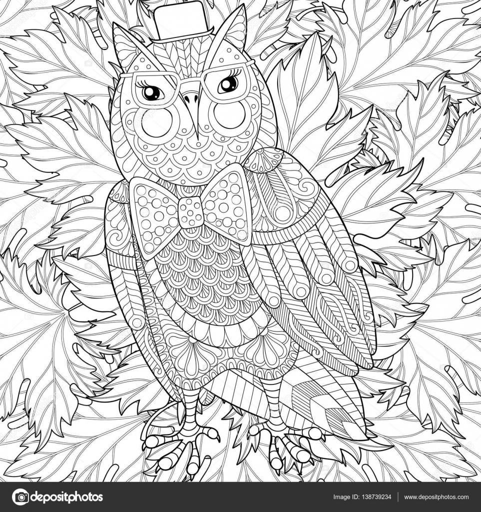 Pintura de buho de zentangle para adultos anti página para colorear ...