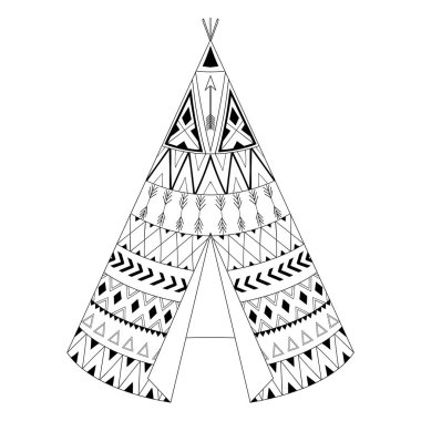 Hand drawn American native wigwam with ethnic ornamental elements. Teepee boho designs. Monochrome yurt, indian home vector illustration isolated on background. Camping tent. stock vector