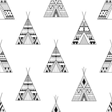 Hand drawn American native wigwams seamless pattern with ethnic ornamental elements. Teepee boho designs. Monochrome yurt, indian home vector illustration. stock vector