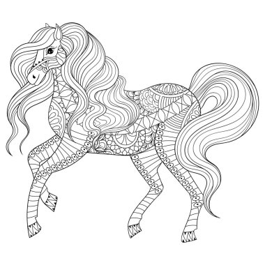 Hand drawn zentangle horse for adult coloring page, art therapy,