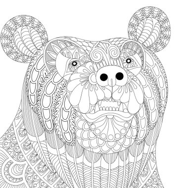 Vector zentangle bear head for adult anti stress coloring pages,