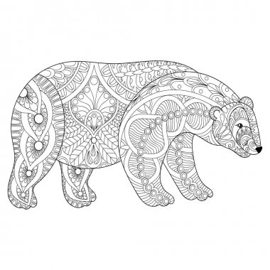 Vector zentangle polar bear head for adult anti stress coloring