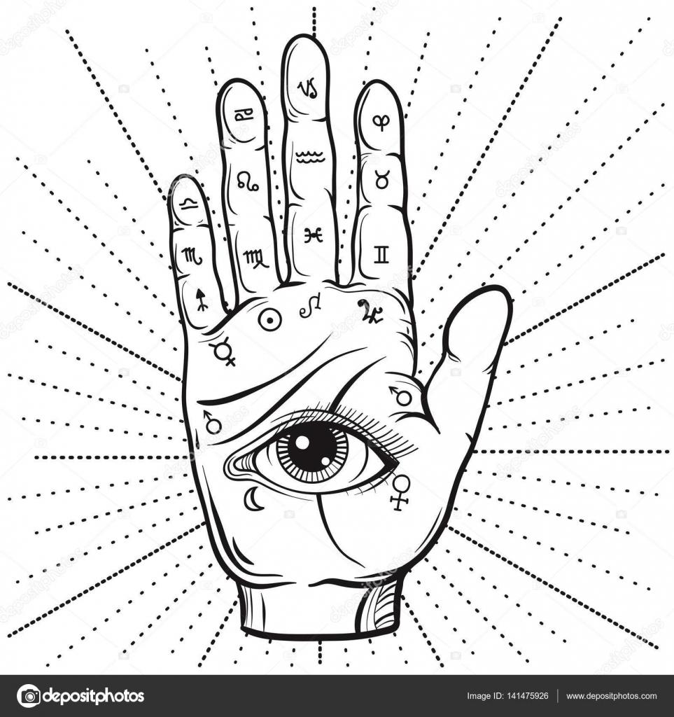 Fortune Teller main avec diagramme de chiromancie, dessinée à la ...
