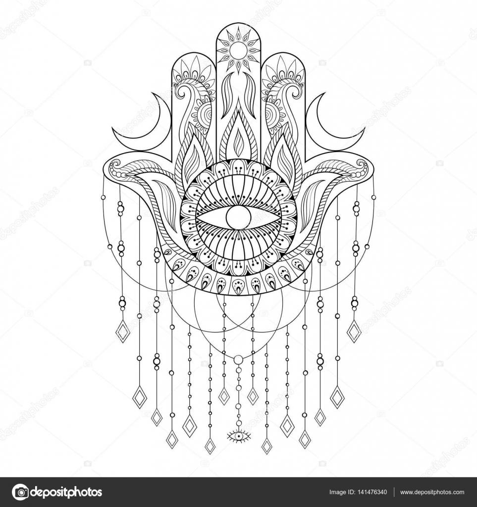Hamsa Hand Vector Illustration Hand Drawn Symbol Of Protection