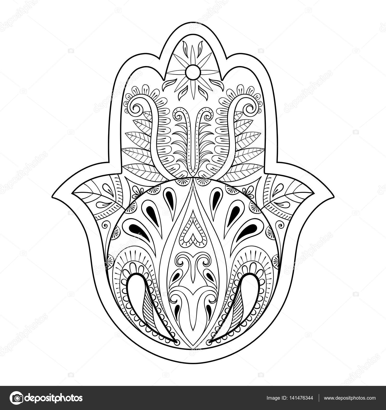 Hamsa Hand Vector Illustration Drawn Symbol Of Prayer For Adult Anti Stress Coloring Book Page In Zentangle Style Blackwork Yoga Tattoo Design