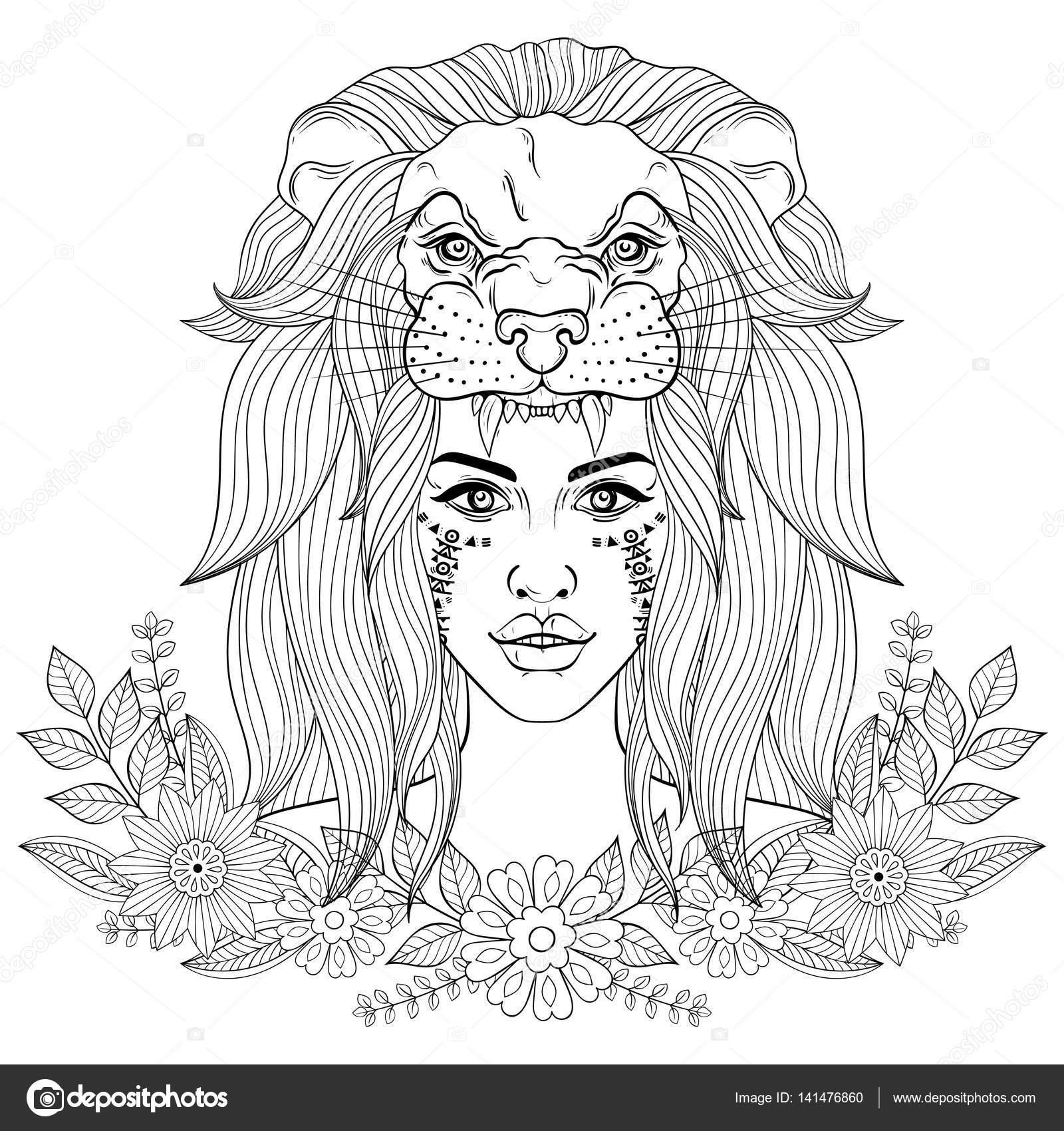 Portrait De Boho Girl Avec Masque Leon Femme En Wreat Florale