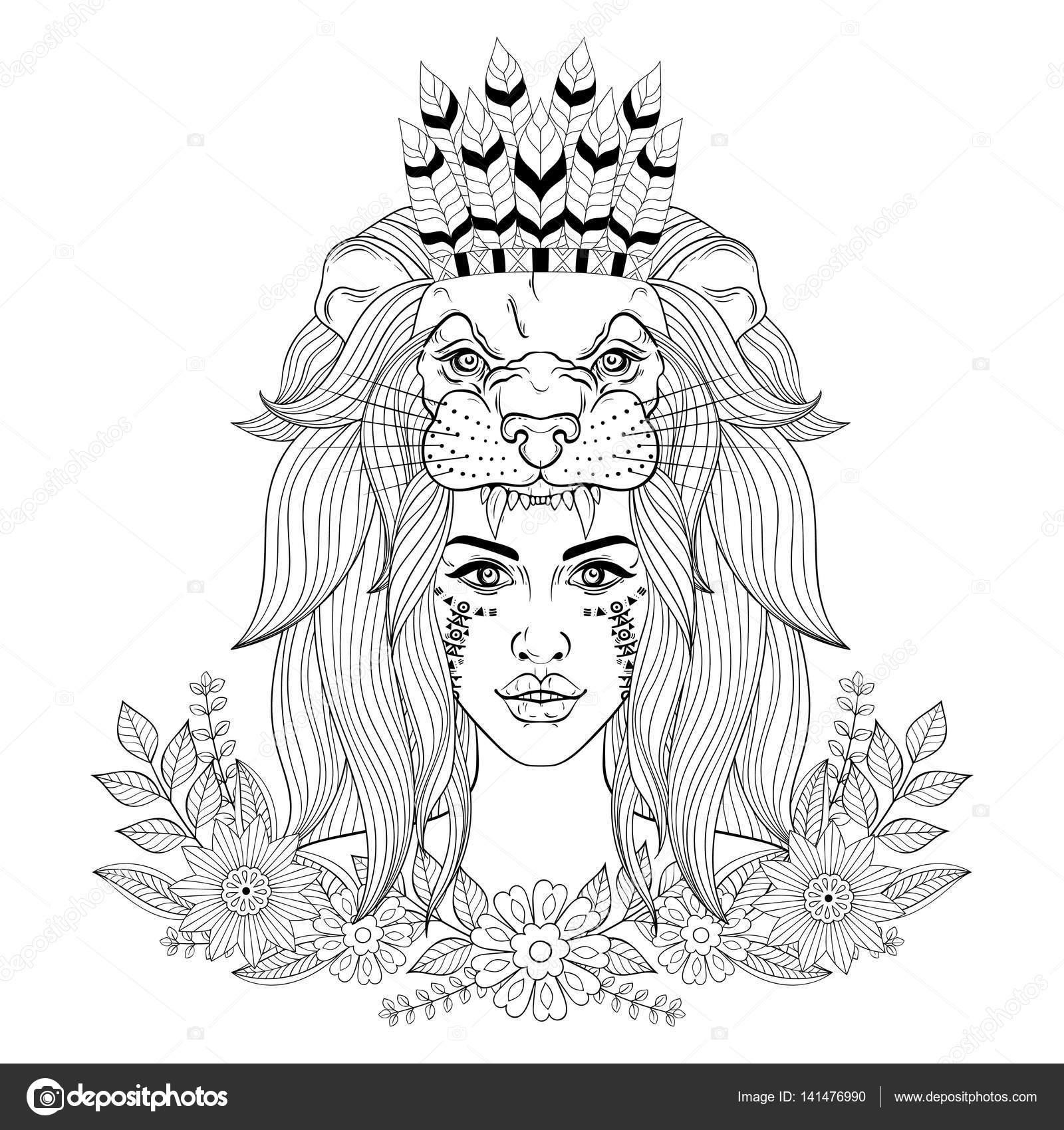 Retrato de la chica vintage con la máscara de cabeza de León con ...