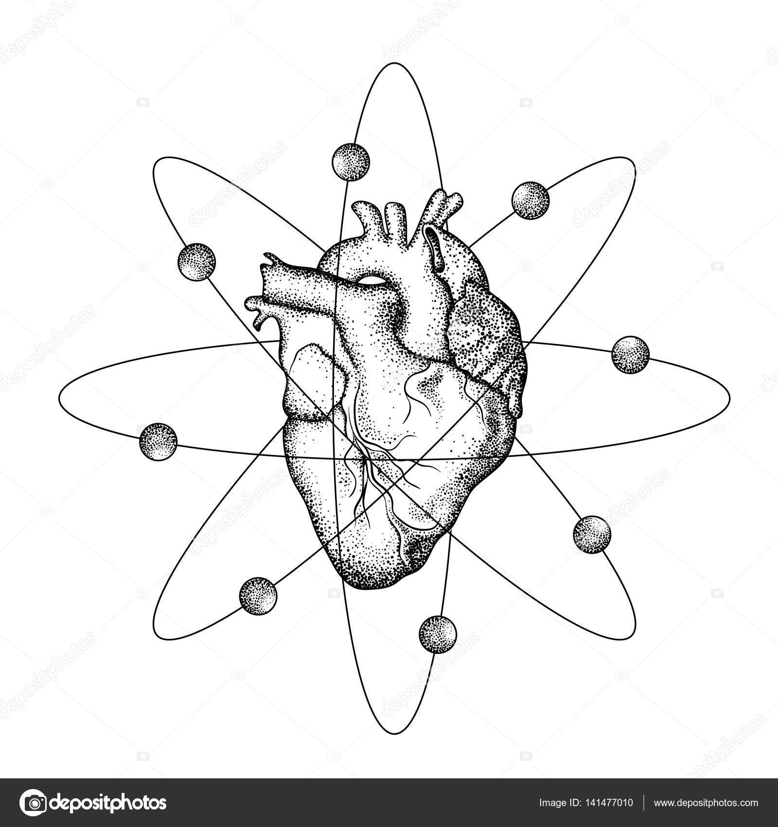 realistic human heart with wings like atom with electrons tatto Lung Diagram realistic human heart with wings like atom with electrons tatto stock vector