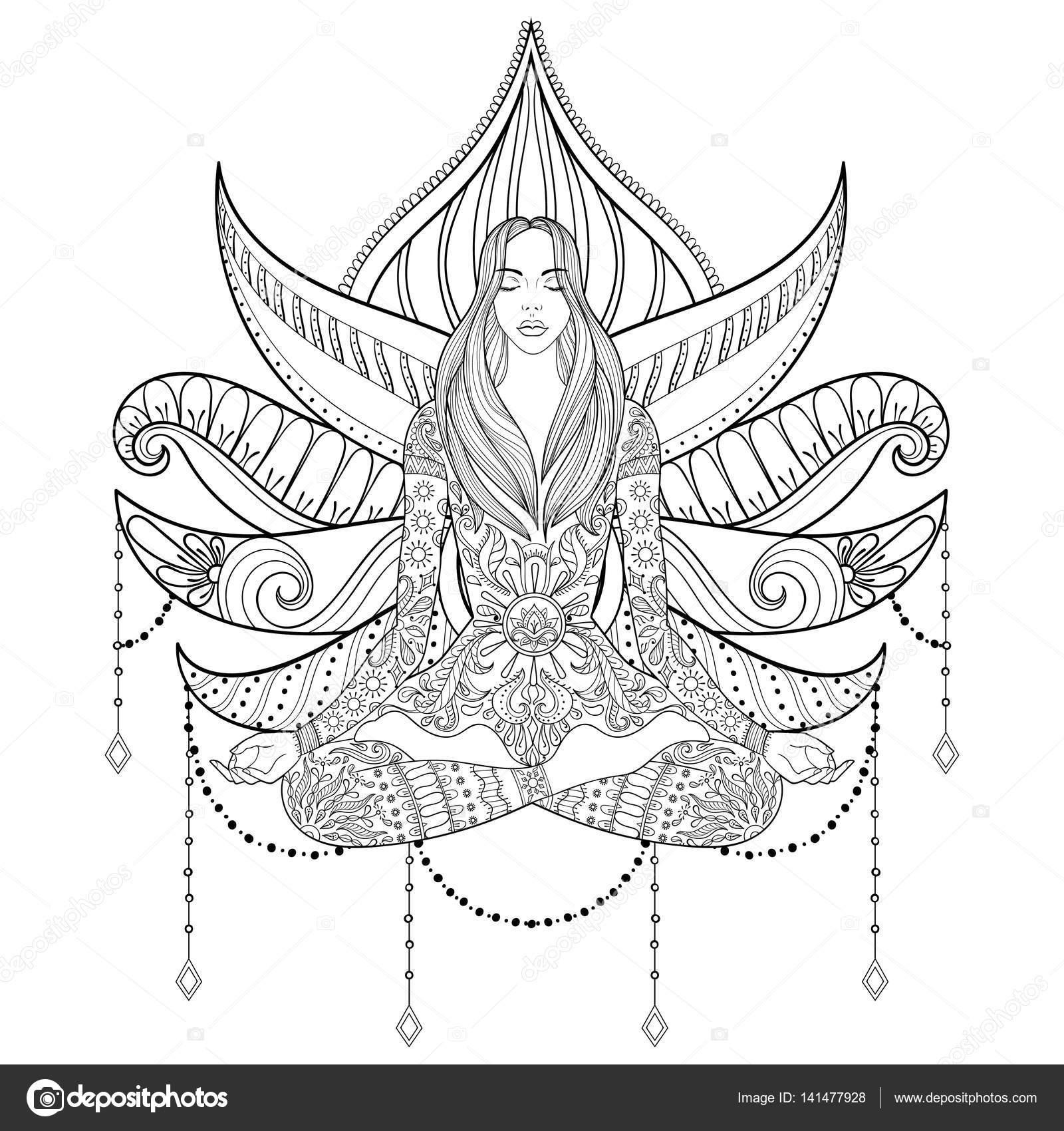 Frau im Lotussitz auf Lotus-Blume Hintergrund. VEC — Stockvektor ...