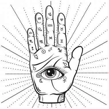 Fortune Teller Hand with Palmistry diagram, handdrawn all seeing