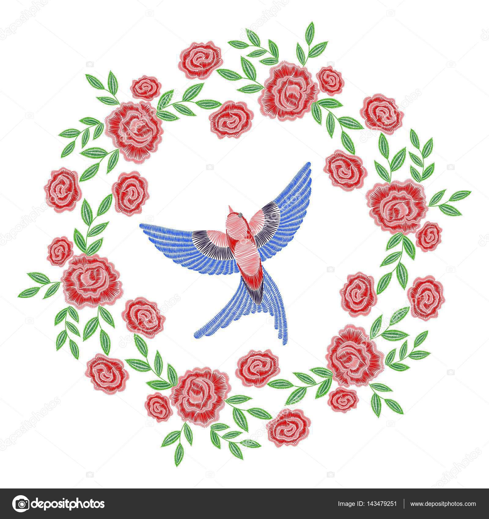 Dibujos: guirnaldas de flores para bordar | Guirnalda rosa bordado ...