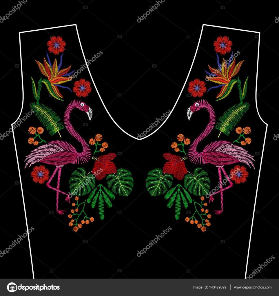 Dibujos Flamencos Para Bordar Puntadas De Bordado Con Ave