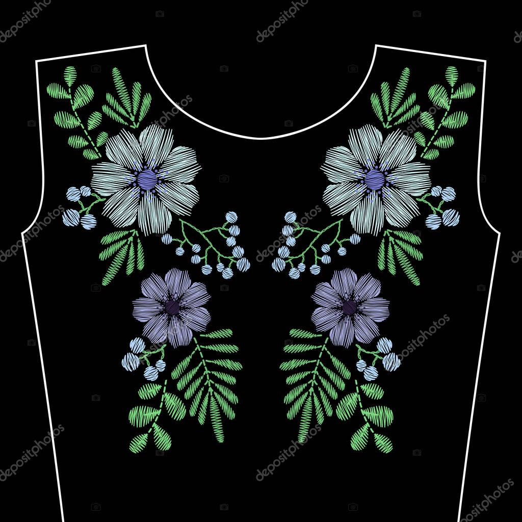 Embroidery stitches with blue wild flowers for neckline. Vector