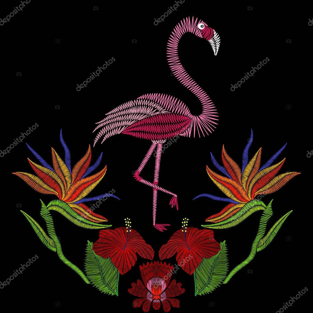 Embroidery stitches with flamingo bird with hibiscus flowers. Ve