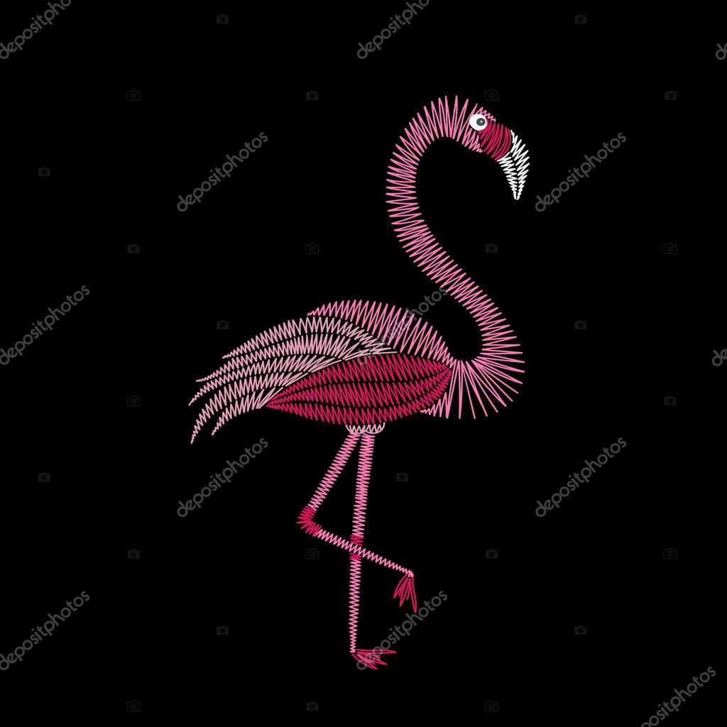 Embroidery stitches with flamingo bird. Vector fashion ornament