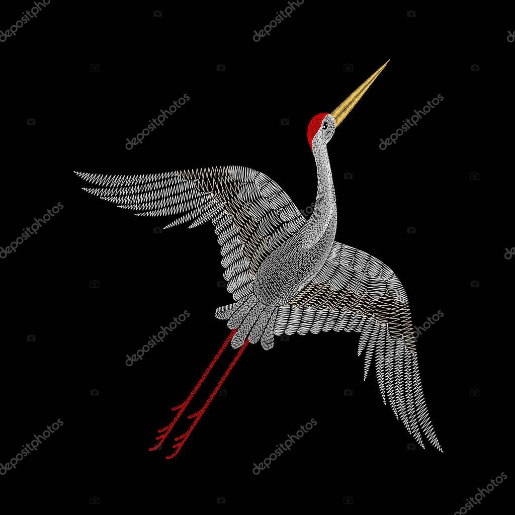 Embroidery with crane bird for neckline. Vector fashion embroide