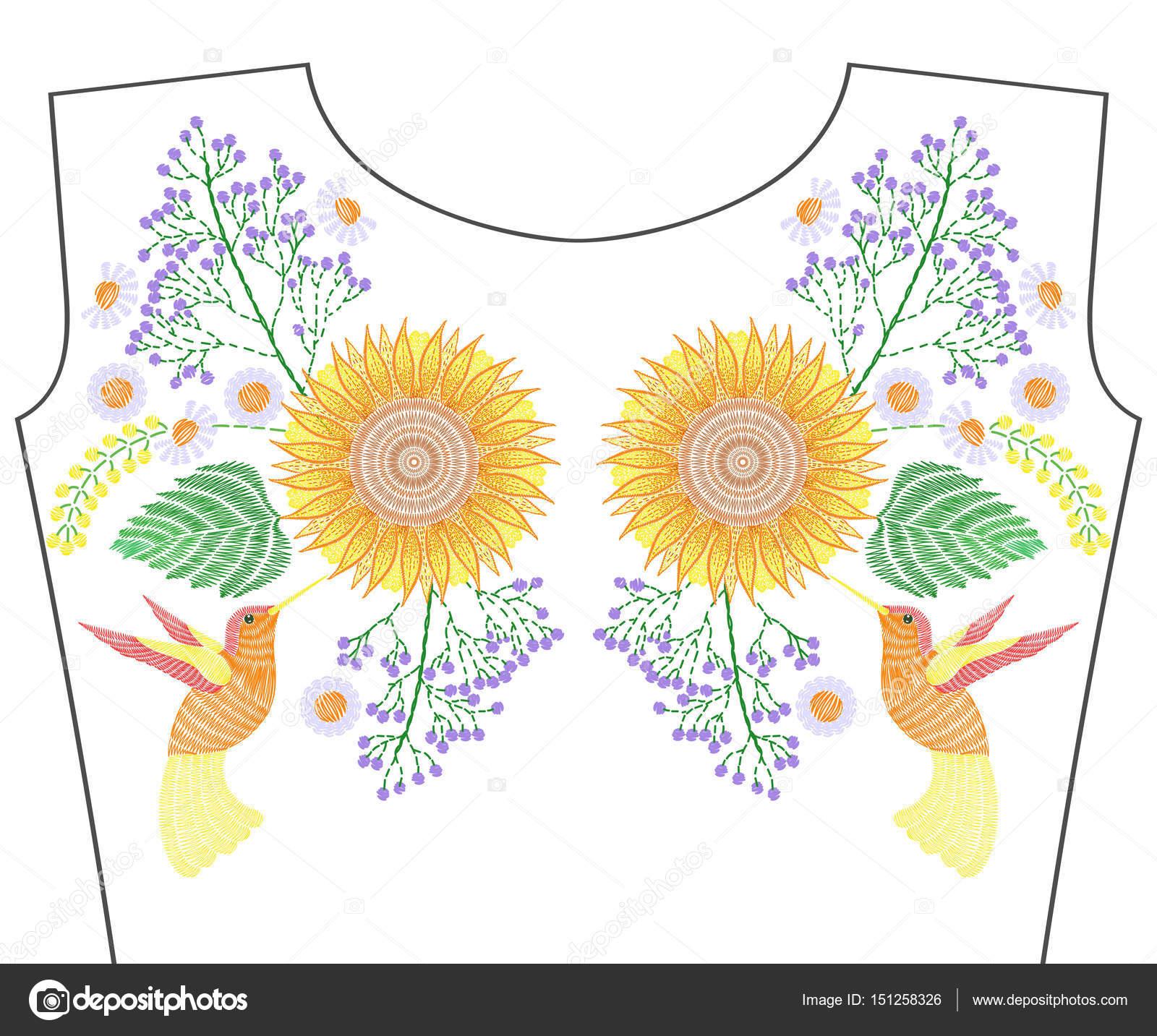 Colibrí de bordado con girasol, flores silvestres, chamo de verano ...