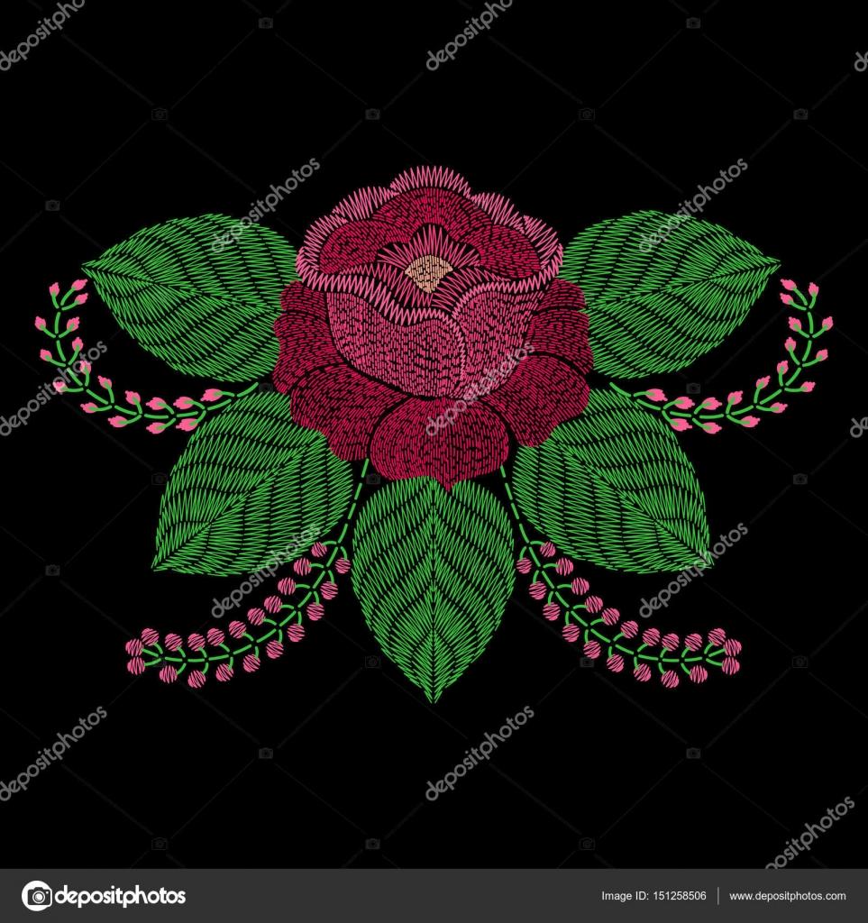 Bordado flor color de rosa. Ba ornamental bordado de la moda Vector ...