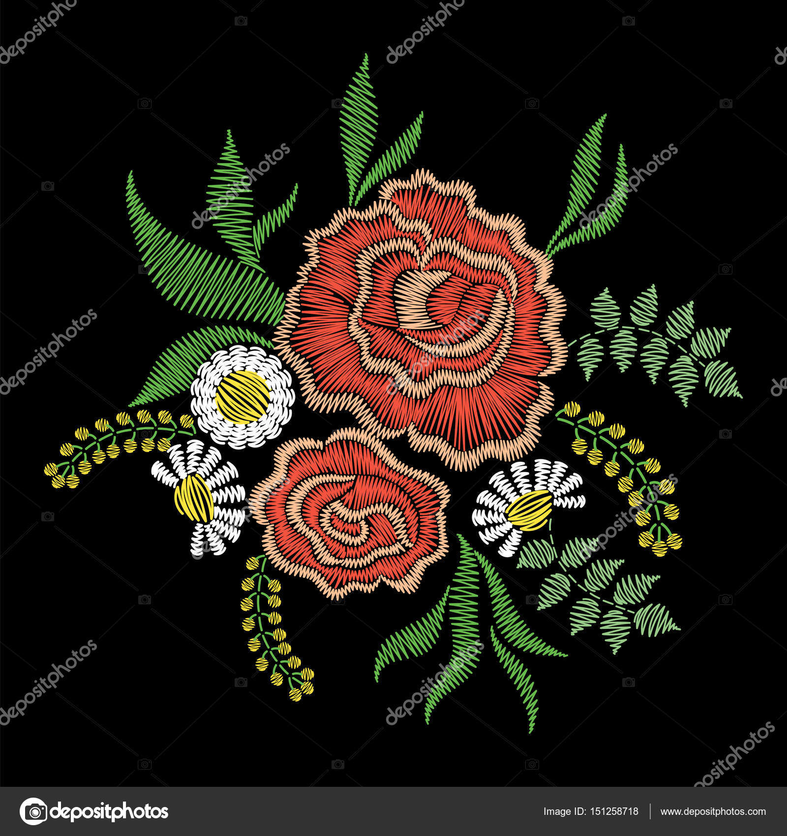 Embroidery stitches rose flowers for neckline  Vector fashion or