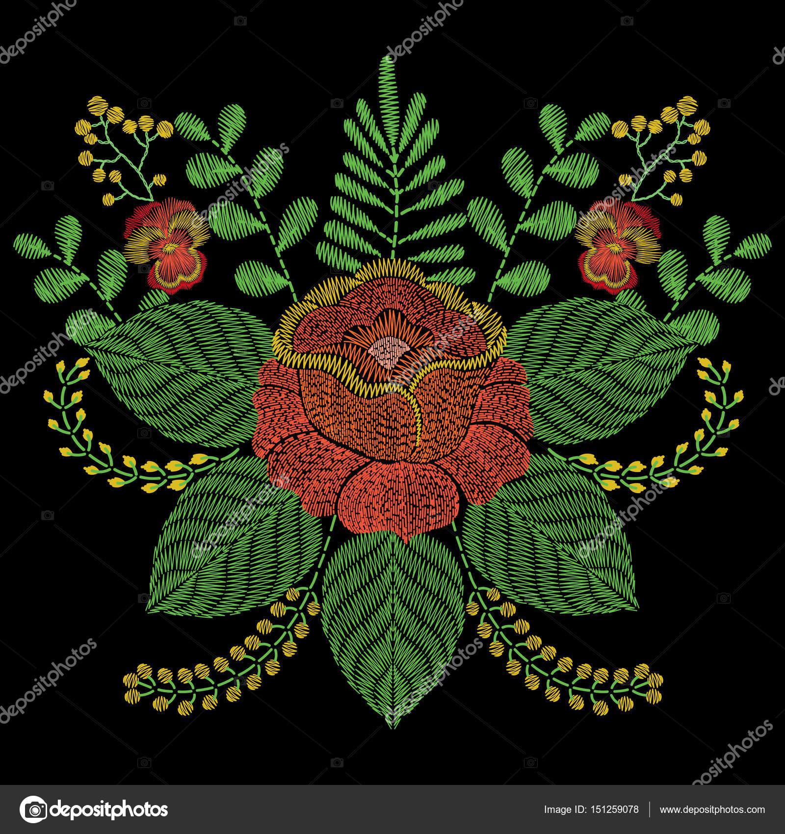 Puntadas de bordado con flores color de rosa naranja, hierba, ramas ...