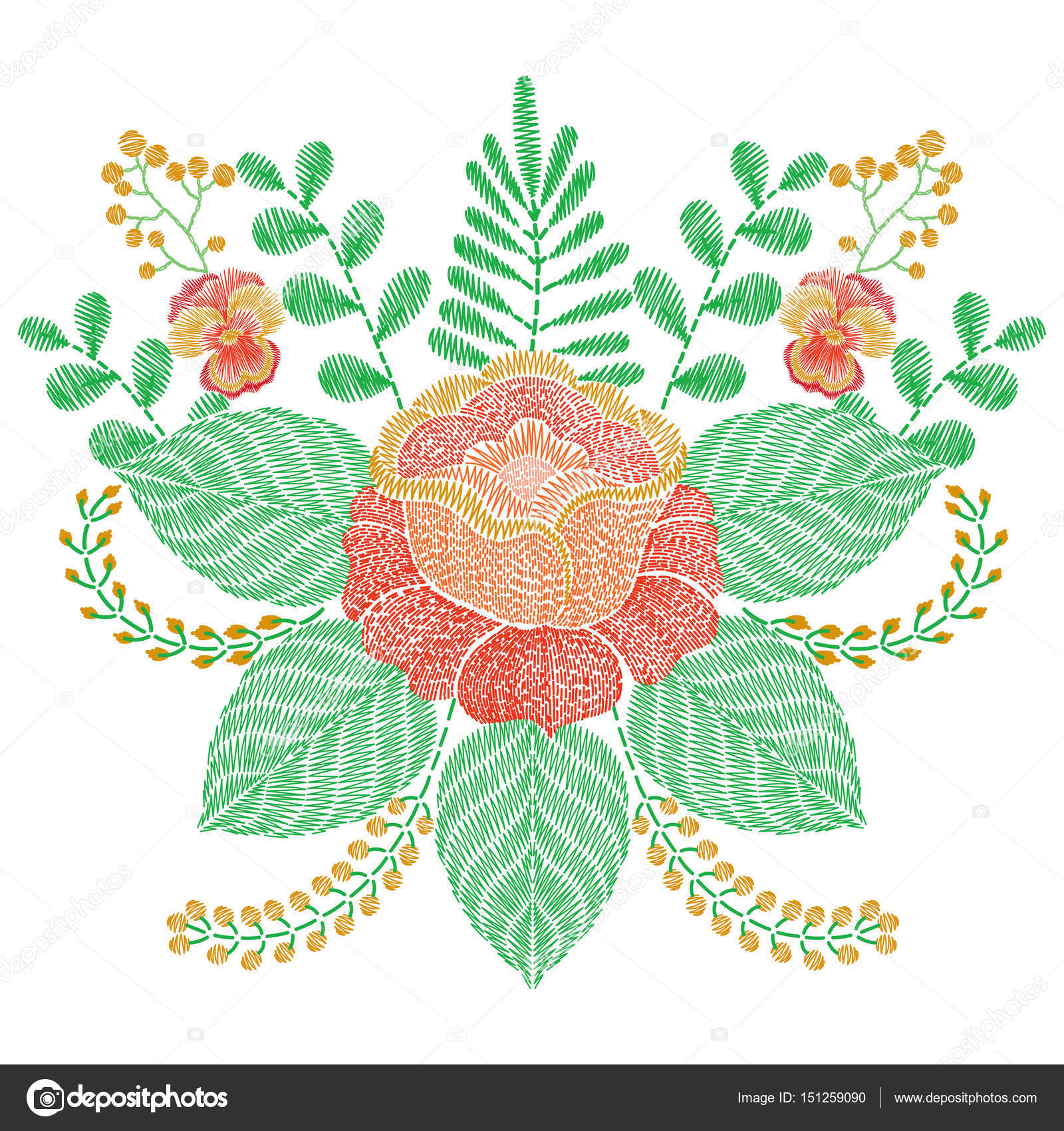 Embroidery Stitches With Orange Rose Flowers Grass Branches V