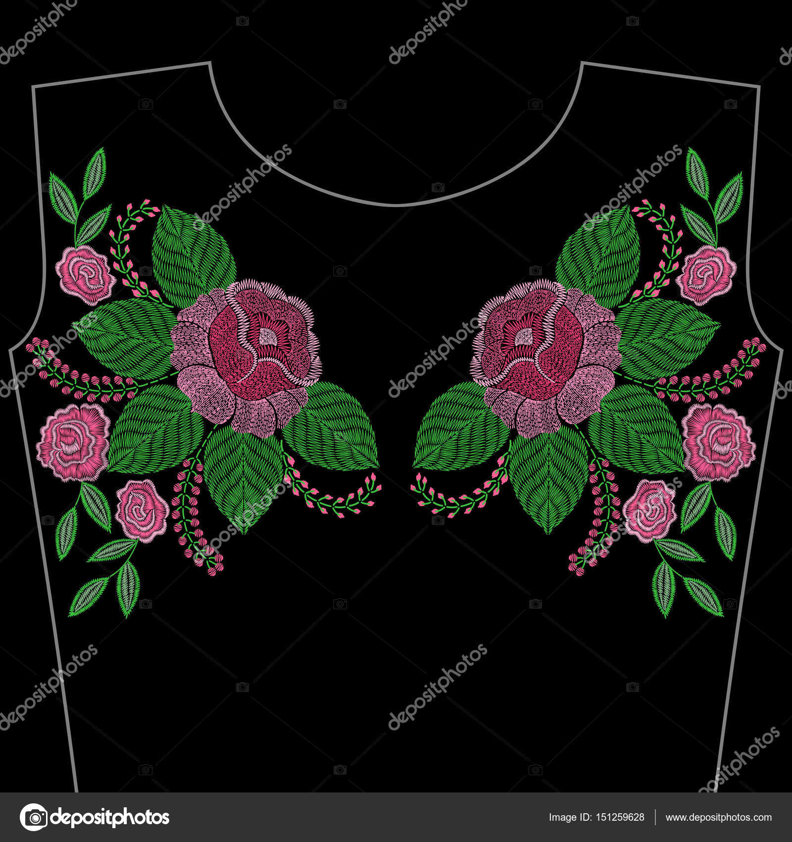 Embroidery stitches with spring flowers, roses in pastel color f ...