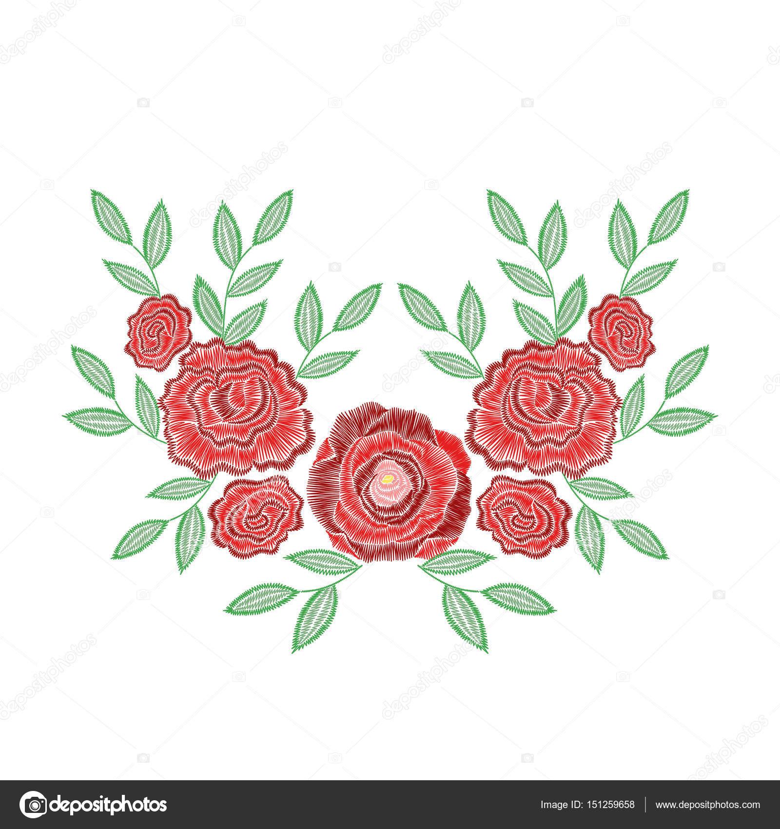 Vectores: para bordado | Puntadas de bordado con flores color de ...