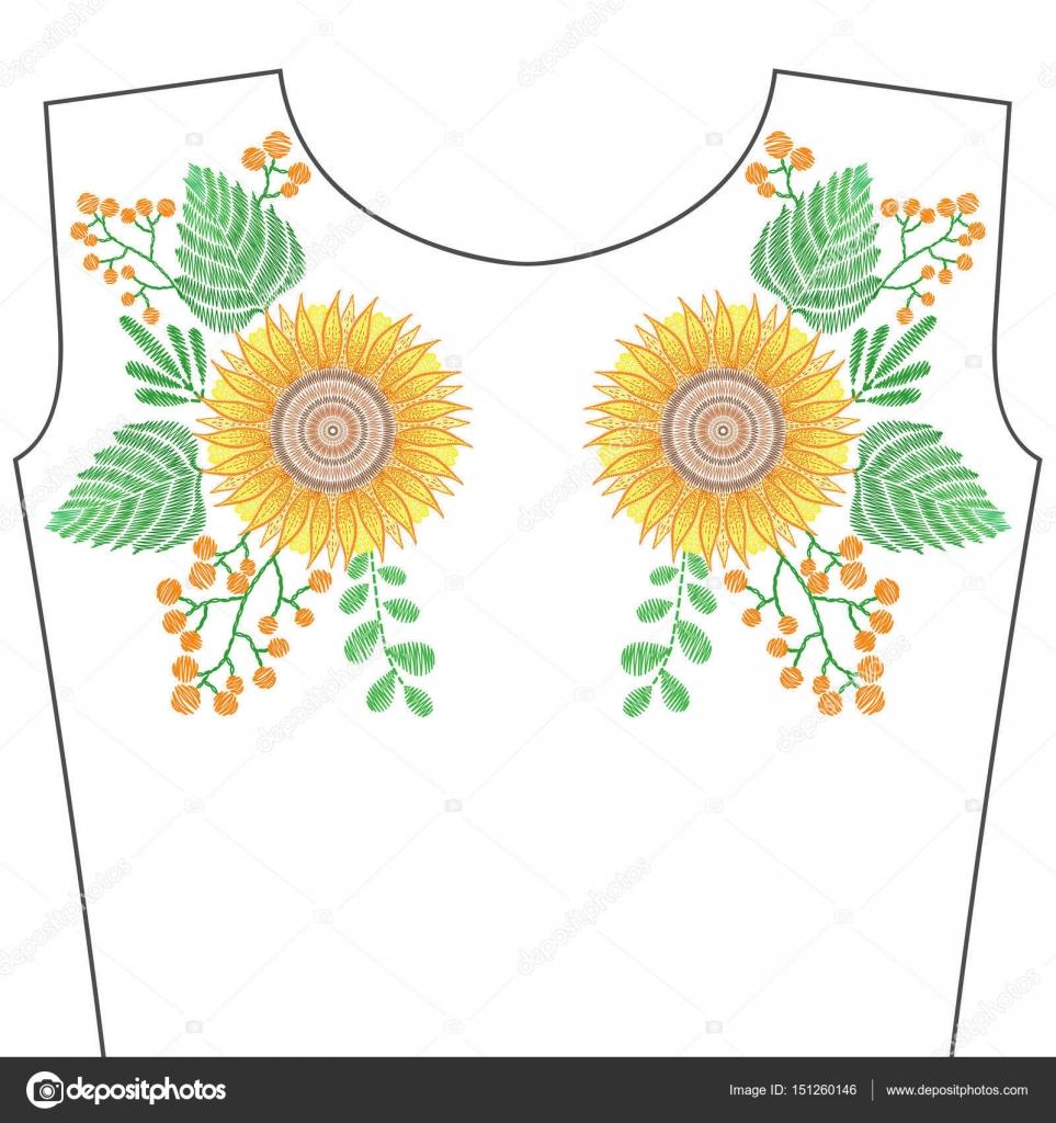 Puntadas de bordado con flores de girasol, amarillos para el cuello ...