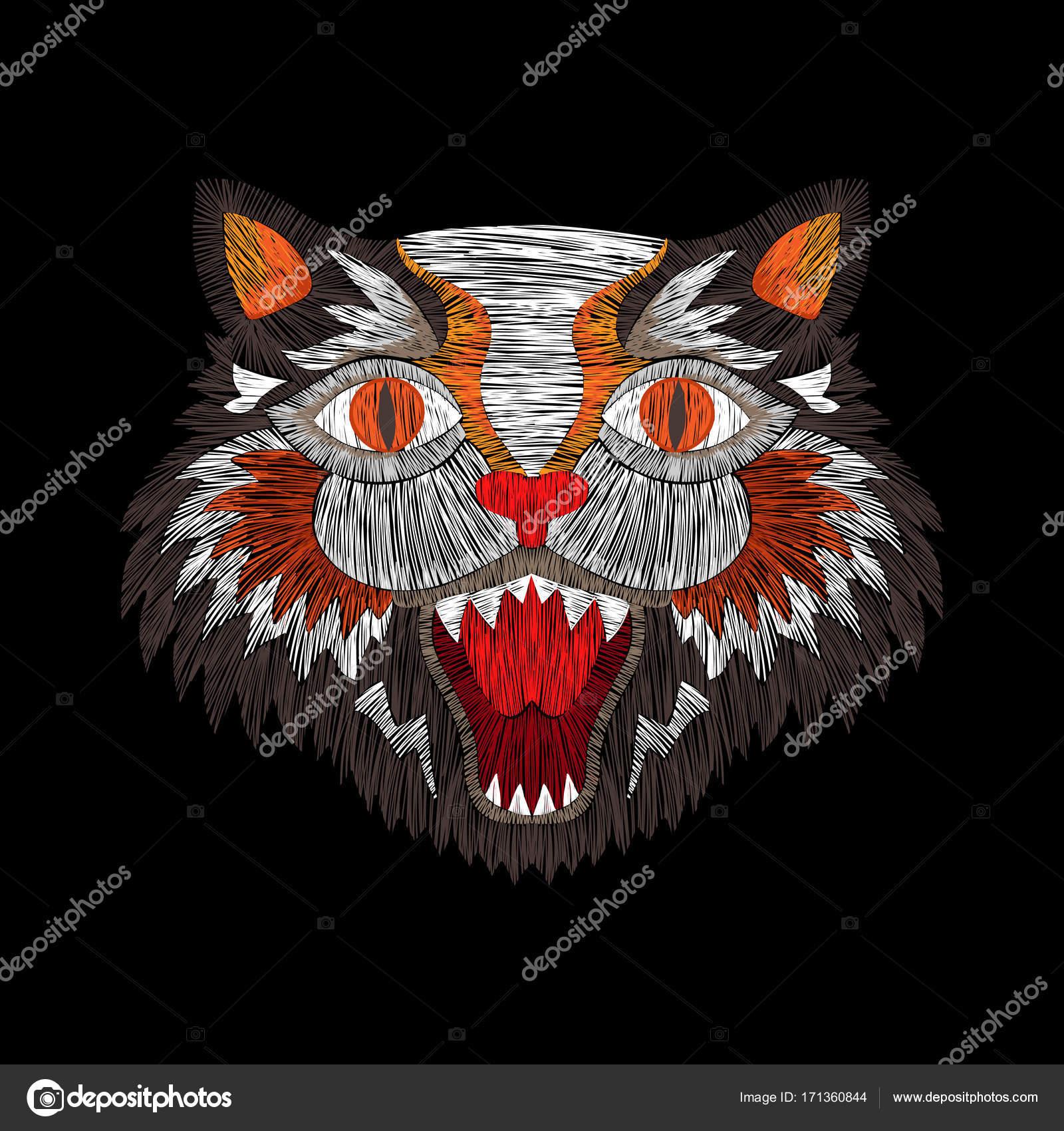 Tygrys Kot Moda Haft Grafika Wektorowa Ipanki 171360844