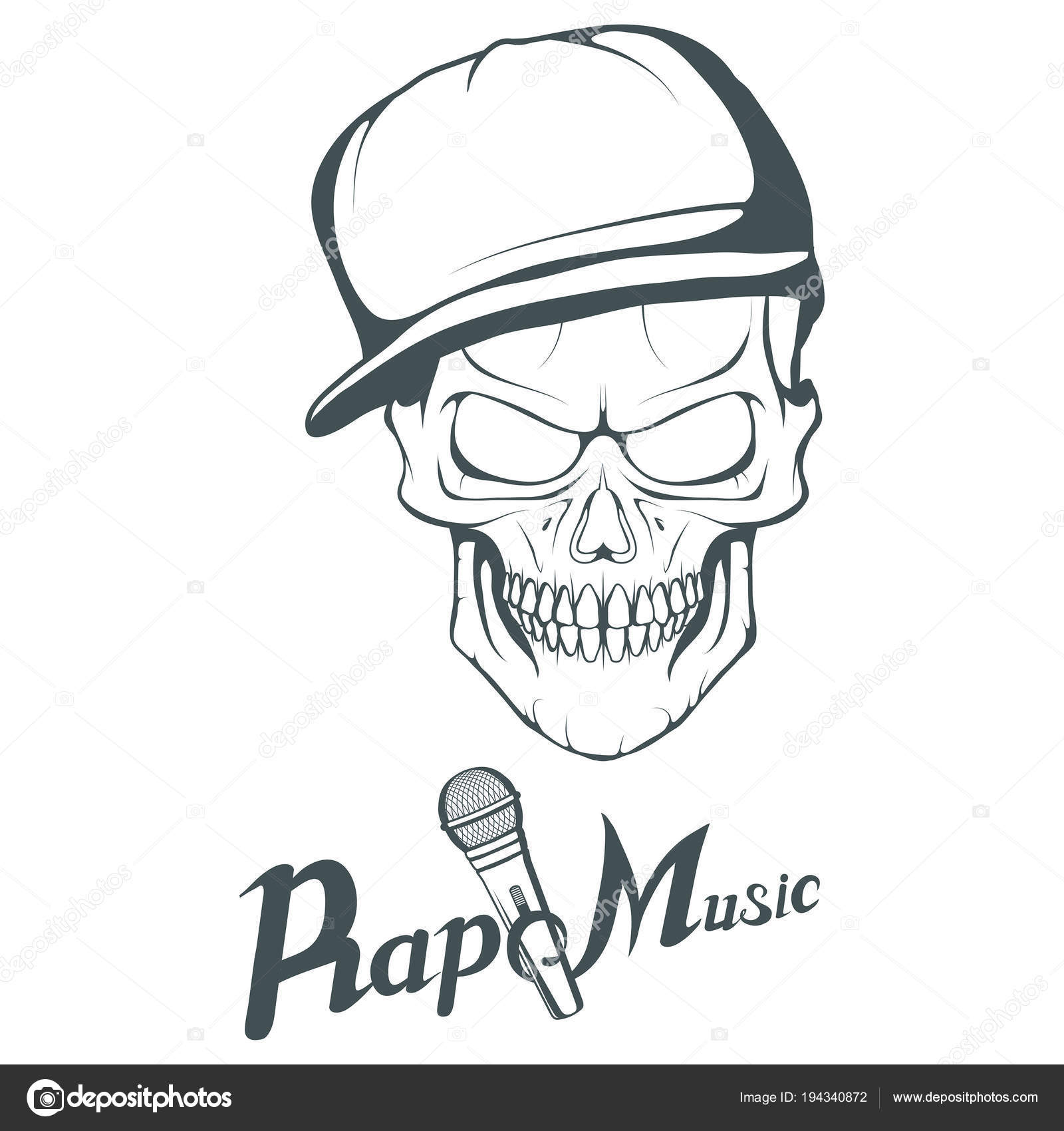 Rap Music Logo Rapper Skull White Background Lettering Microphone
