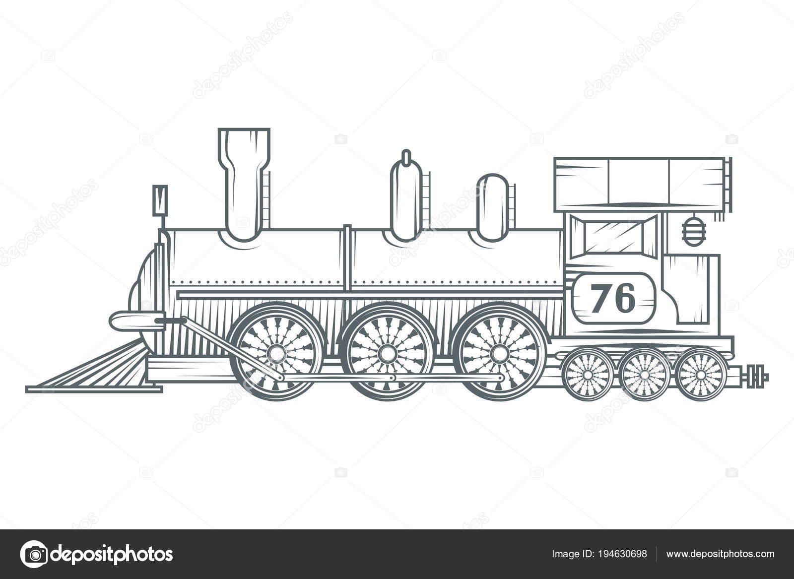 Antiguo Logotipo Tren Dibujo Locomotora Transporte Vapor Gráficos ...