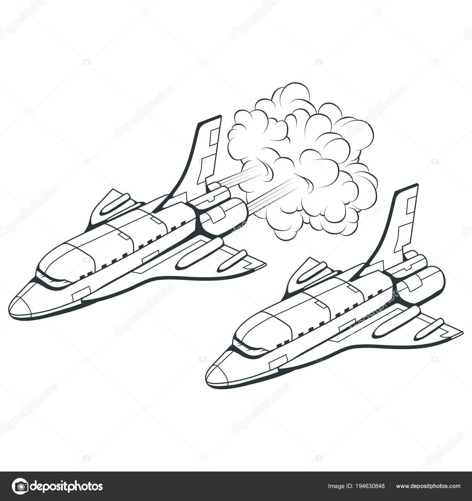 Space Shuttles Handgezeichnete Raumschiffe Reisen Durch Die Galaxie ...