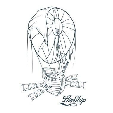 Retro Airship. Balloon. Retro Ship hovering in the air. Flying Dutchman. Vector graphics to design