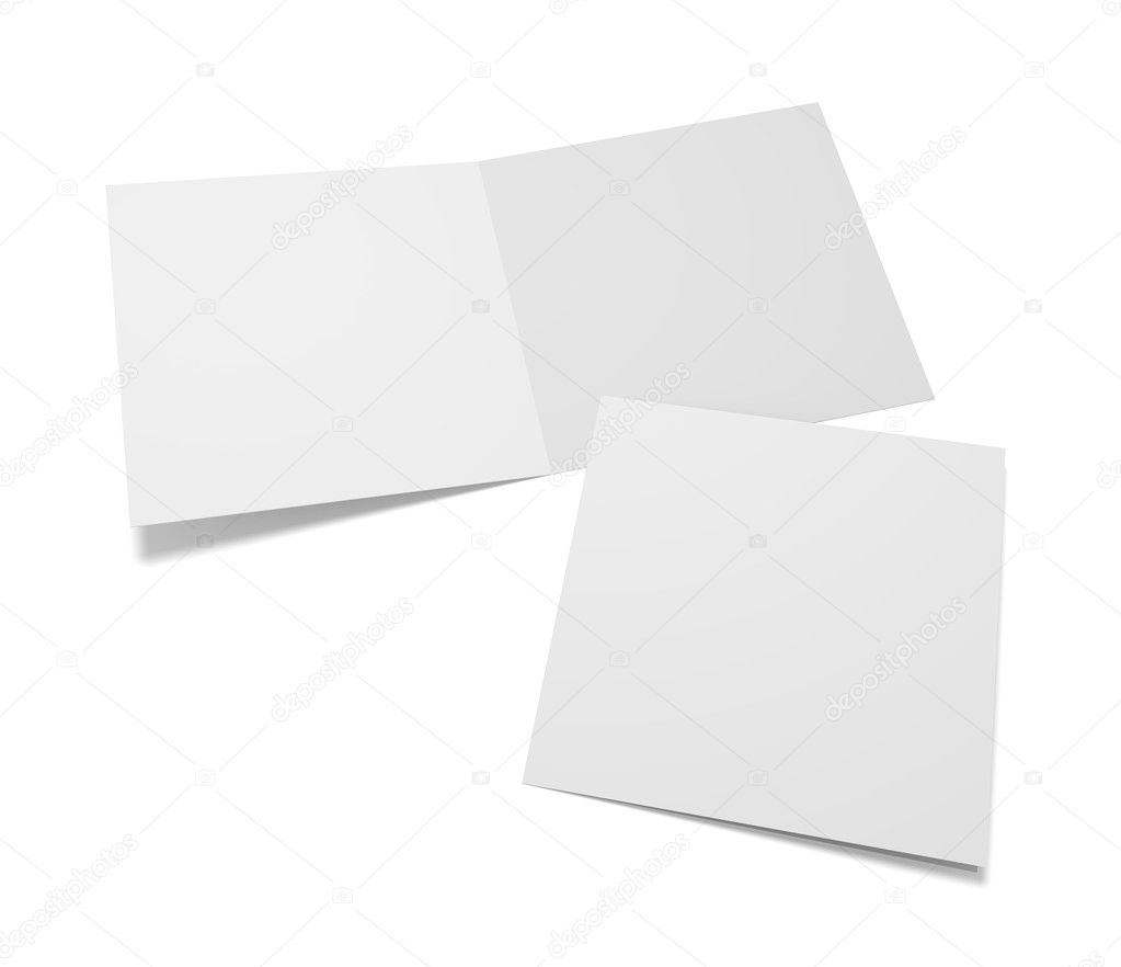 Empty 3d Illustration Greeting Cards With Cover On White Stock