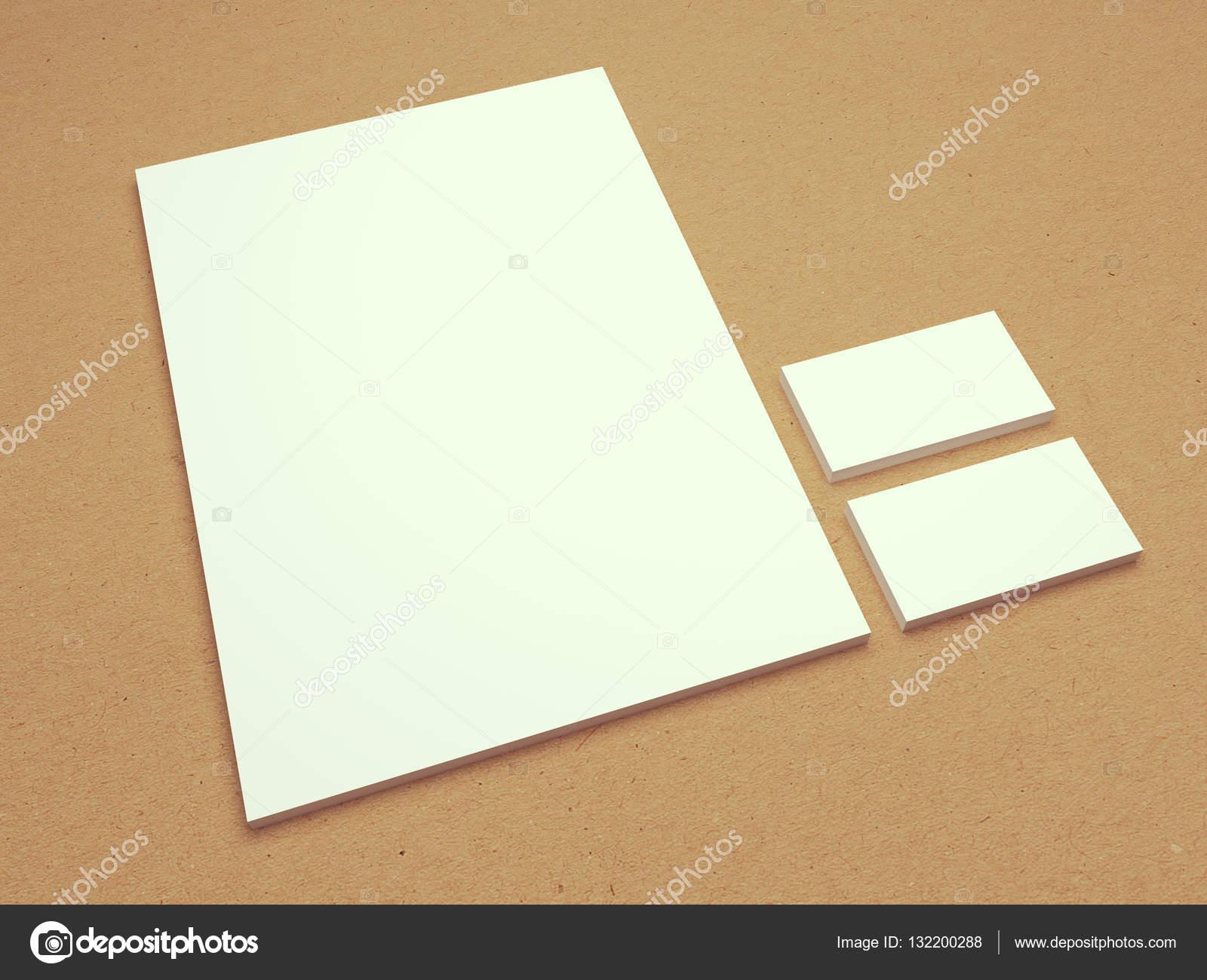 Vintage In Bianco Di Carta Intestata Con Biglietti Da Visita 3d Illustrazione Foto Stock