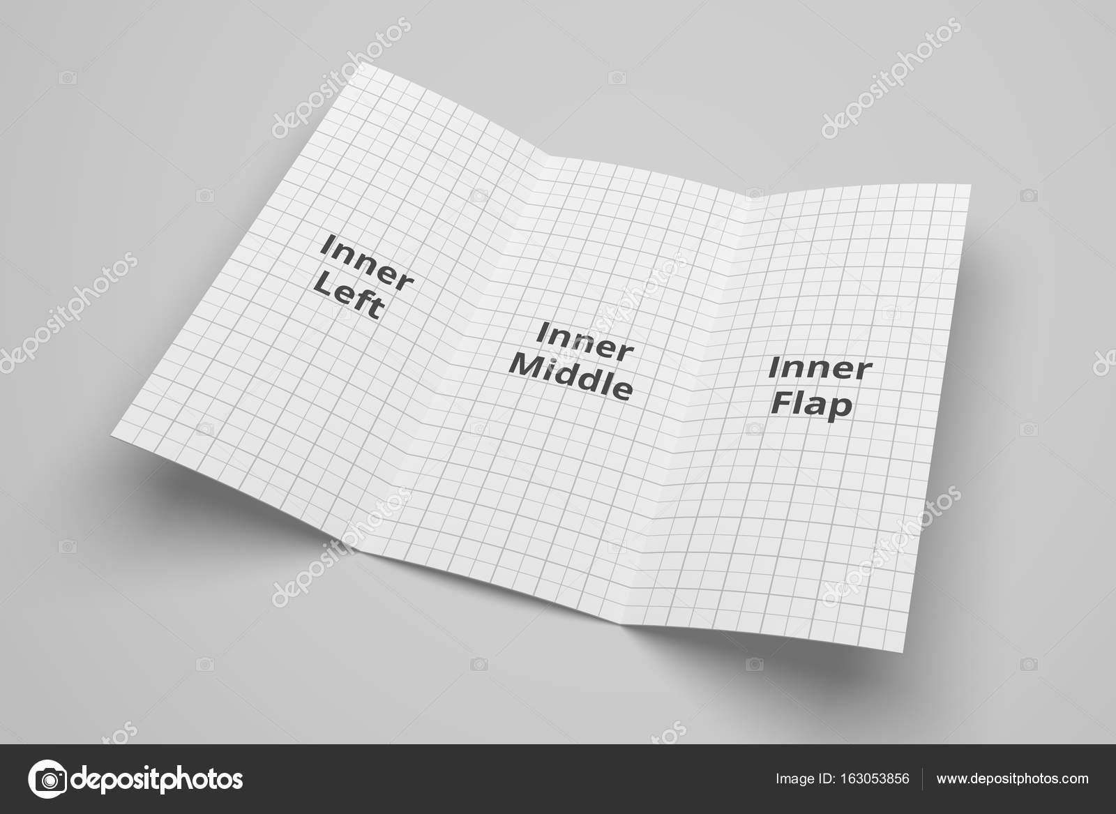 us letter tri fold brochure 3d illustration mockup with grid no 4