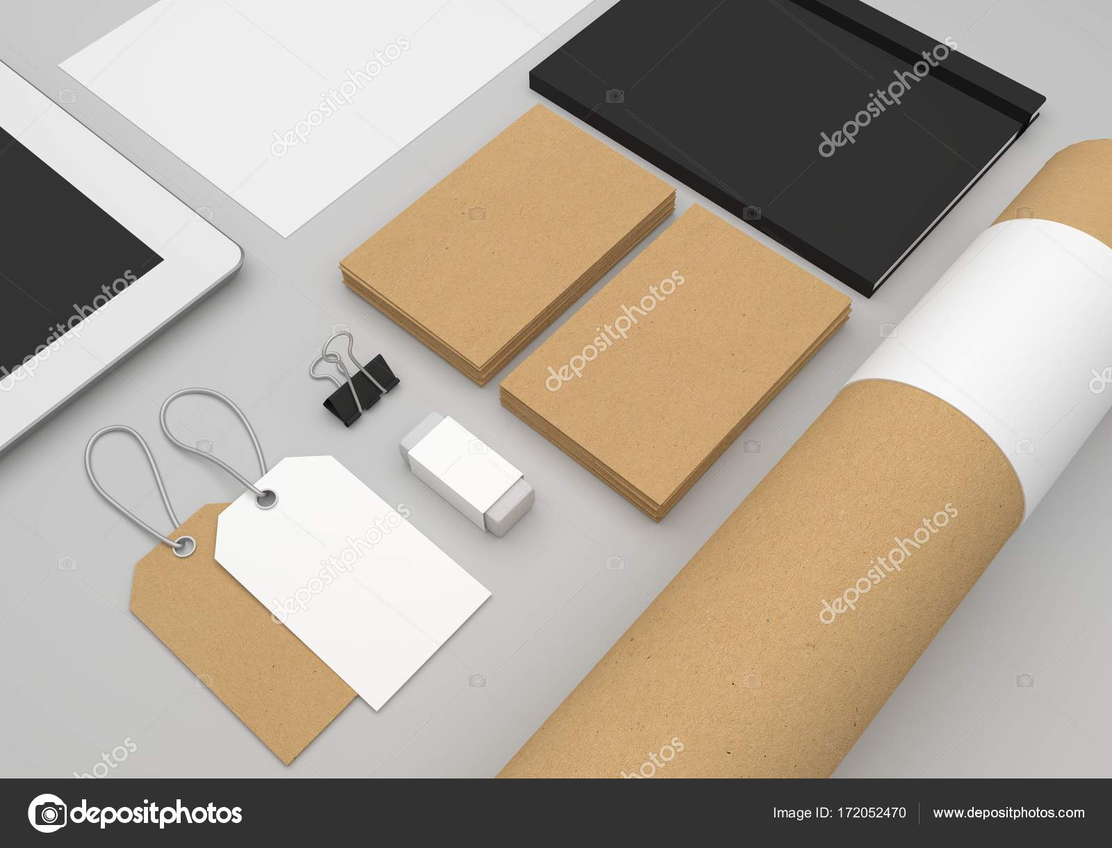 Stationery 3d illustration mockup with business cards and fashion stationery 3d illustration mockup with business cards and fashion hang tags stock photo reheart Gallery