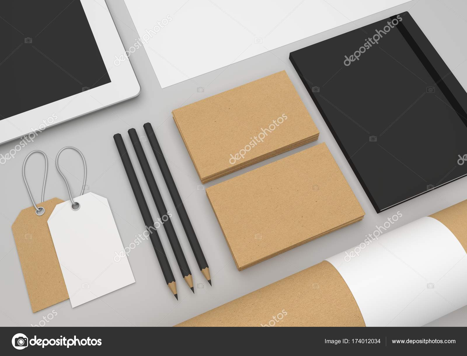 Empty 3D illustration mockup focus on business cards. — Stock Photo ...