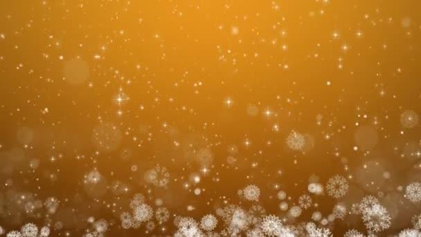 Žlutá Vánoční pozadí. Zimní karta s sněhové vločky, hvězdy a sníh.