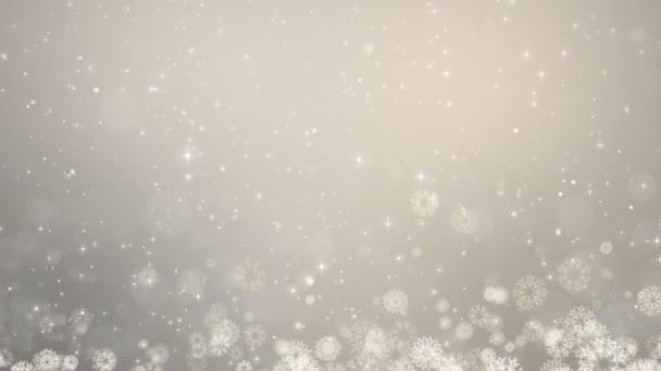 Šedá Vánoční pozadí. Zimní karta s sněhové vločky, hvězdy a sníh