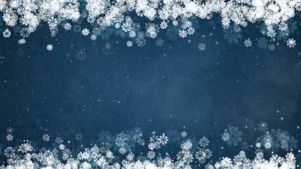 Karácsonyi keret a kék háttér. Absztrakt téli kártya izzó hópelyhek, a csillagok és a hó.
