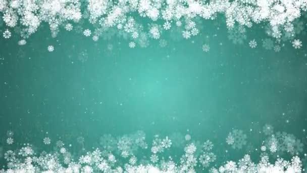 Vánoční rámeček na zeleném pozadí. Abstraktní zimní karta s zářící sněhové vločky, hvězdy a sníh