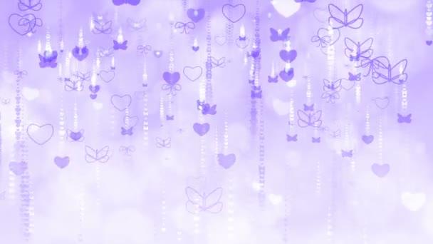 Den svatého Valentýna pozadí s motýly a srdce.