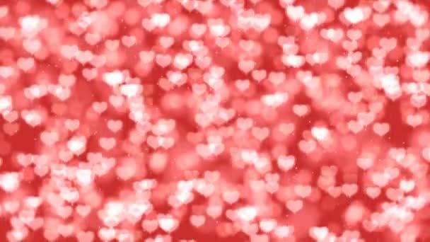 Rote Valentine Herzen Bokeh geloopt Animation Hintergrund
