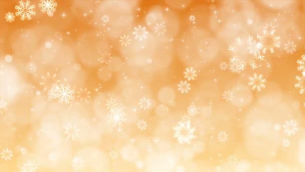 Zlatý Vánoční pozadí s sněhové vločky a jiskří