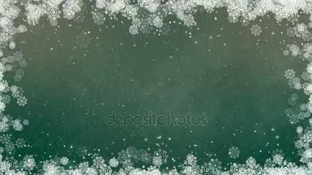 Zöld újév hópelyhek keret