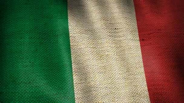 Beautiful animation of Italy gunny sack flag moving in the wind. Seamless loop background.